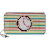 Baseball; Bright Rainbow Stripes Travel Speakers