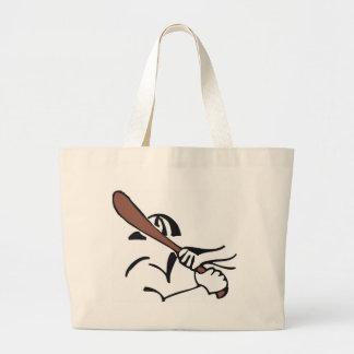 baseball  brown bat large tote bag
