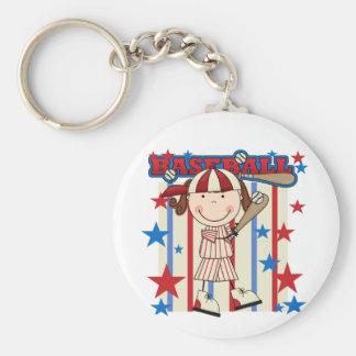 BASEBALL Brunette Girl Tshirts and Gifts Keychain