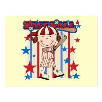 BASEBALL Brunette Girl Tshirts and Gifts Postcard