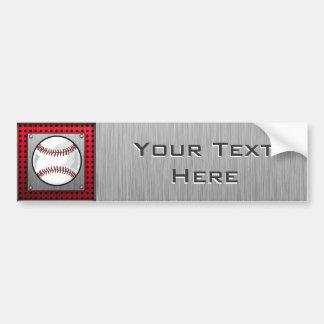 Baseball; Brushed Aluminum look Bumper Sticker