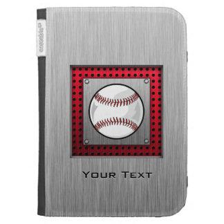 Baseball; Brushed Aluminum look Case For Kindle