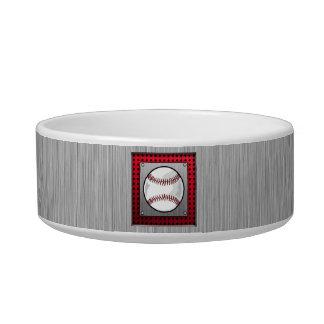 Baseball; Brushed Aluminum look Pet Bowls