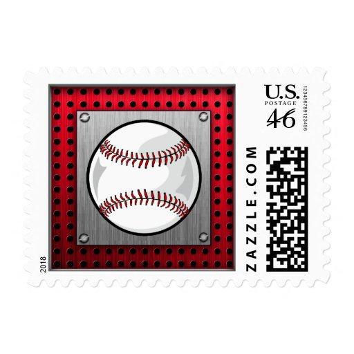 Baseball; Brushed Aluminum look Postage Stamp