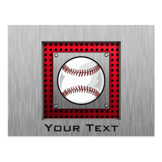Baseball; Brushed Aluminum look Postcard