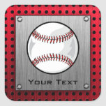 Baseball; Brushed Aluminum look Square Sticker