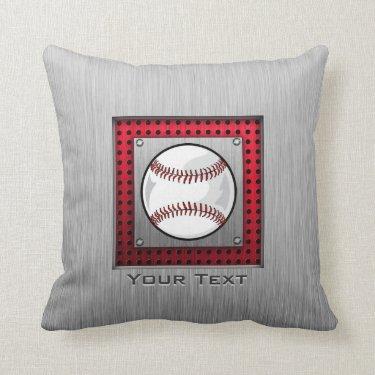 Baseball; Brushed Aluminum look Throw Pillows