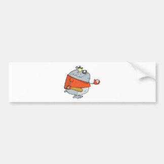 Baseball Bulldog Cartoon Mascot Character Car Bumper Sticker