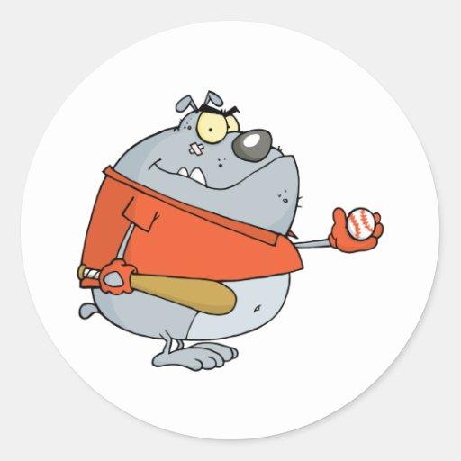 Baseball Bulldog Cartoon Mascot Character Stickers