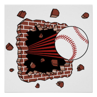 Baseball burst poster