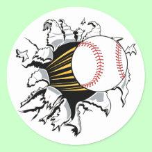 Baseball burst Sticker - Cool baseball stickers with a baseball bursting through the paper! Great gift for baseball fans!