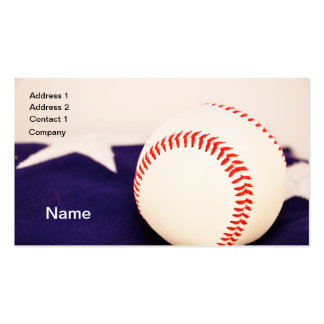 baseball  by American flag Double-Sided Standard Business Cards (Pack Of 100)