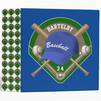 Baseball Cap Bats Diamond Personalized Name Number 3 Ring Binder