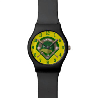 Baseball Cap Bats Diamond Personalized Name Number Watches