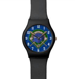 Baseball Cap Bats Diamond Personalized Name Number Wrist Watch