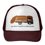 baseball cap, brown garbage truck mesh hats
