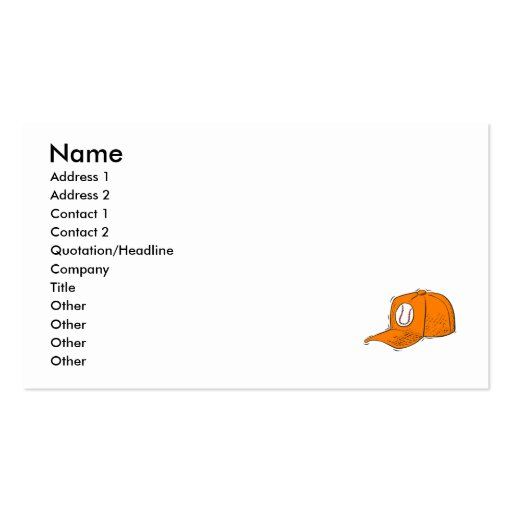 Baseball Cap Double-Sided Standard Business Cards (Pack Of 100)