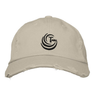 Baseball cap distressed black t logo