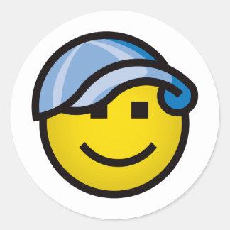 Baseball Cap Smilie - Blue Classic Round Sticker