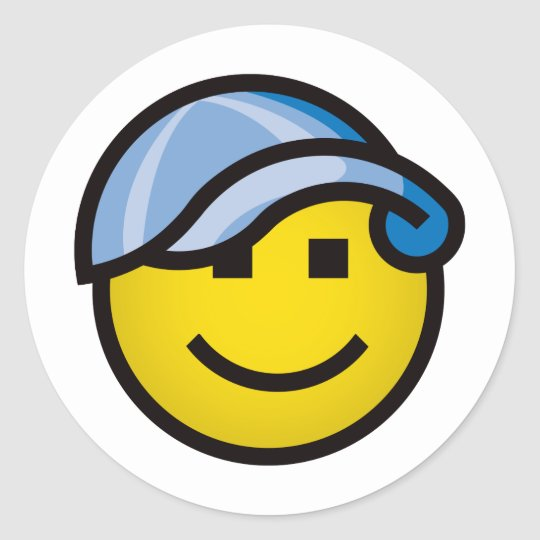 Baseball Cap Smilie - Blue Classic Round Sticker