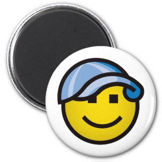 Baseball Cap Smilie - Blue Magnet