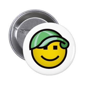 Baseball Cap Smilie - Green 2 Inch Round Button