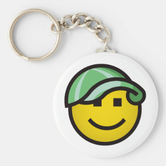 Baseball Cap Smilie - Green Keychain