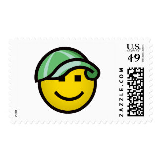 Baseball Cap Smilie - Green Postage Stamp