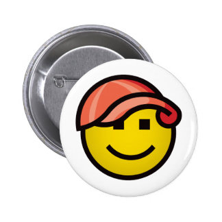 Baseball Cap Smilie - Red 2 Inch Round Button