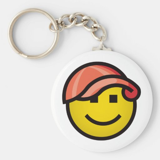 Baseball Cap Smilie - Red Keychains