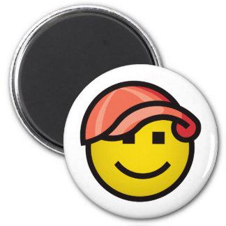 Baseball Cap Smilie - Red Magnet