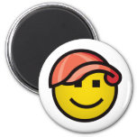 Baseball Cap Smilie - Red Magnets