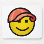 Baseball Cap Smilie - Red Mouse Pads