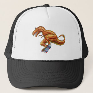 Baseball Cap T-rex on Skateboard