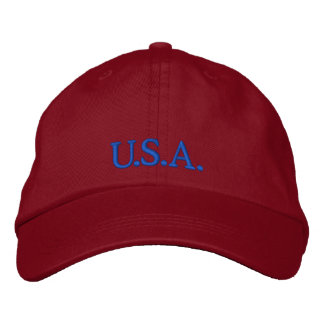 """Baseball cap """"U.S.A."""" red embroidered hat"""
