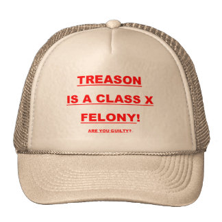 Baseball Cap w/ TREASON IS A CLASS X FELONY! Trucker Hat