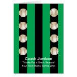 Baseball Card for Coach Green/Black Blank Inside