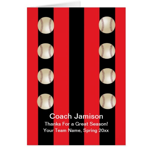 Baseball Card for Coach Red and Black Blank Inside