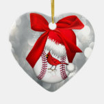 Baseball Cardinal Santa Hat Ornament