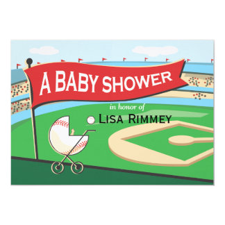 Baseball Carriage Baby Shower Invitation