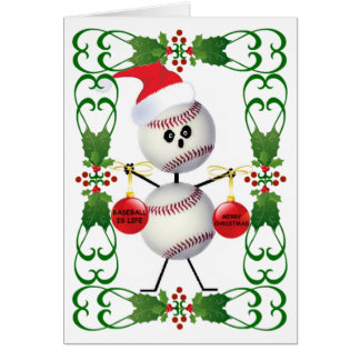 Baseball Cartoon Christmas Greeting Card