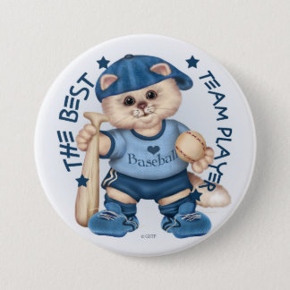 BASEBALL CAT BLUE CARTOON Large, 3 Inch Button