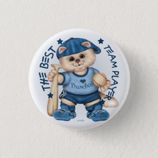 BASEBALL CAT BLUE CARTOON Small, 1¼ Inch Pinback Button