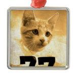 Baseball Cat Metal Ornament