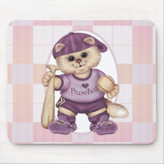 BASEBALL CAT PINK CARTOON CUTE MOUSE PAD