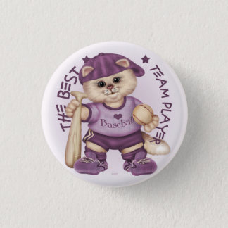 BASEBALL CAT PINK CARTOON Small, 1¼ Inch Pinback Button