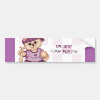 BASEBALL CAT PINK CUTE Bumper Sticker