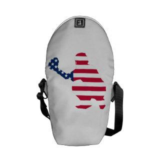 Baseball Catcher American Flag Messenger Bags