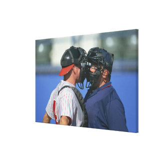 Baseball Catcher and Umpire Arguing Canvas Prints