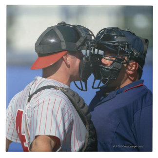 Baseball Catcher and Umpire Arguing Ceramic Tile